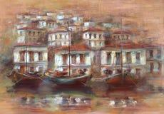 在海岛上的小船怀有,手工制造绘画 免版税库存照片