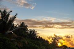 在海岛上的日落 免版税库存照片
