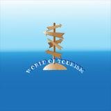 在海岛上的木标志 库存照片