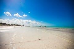 在海岛上的热带离开的完善的海滩 免版税图库摄影