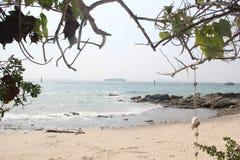 在海岛上的狂放的离开的海滩 免版税库存图片