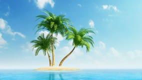 在海岛上的生长棕榈树海上 库存例证