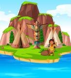 在海岛上的美洲印第安人 库存图片