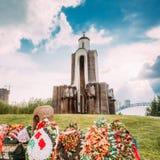 在海岛上的阿富汗战争纪念品泪花(Ostrov Slyoz)在Mi 免版税库存图片