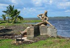 在海岛上的雕塑 库存照片