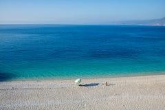 在海岛凯法利尼亚岛Kefalonia上的Fteri海滩在希腊 库存照片
