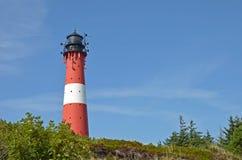 在海岛叙尔特岛上的灯塔在Hoernum 免版税库存照片