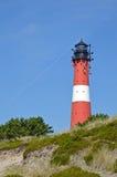 在海岛叙尔特岛上的灯塔在Hoernum 库存照片