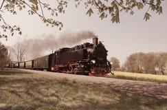 在海岛吕根岛上的历史火车 库存照片