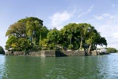 在海岛尼加拉瓜湖(或湖Cocibolka)上的平房 库存图片