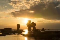 在海岛法罗,瑞典上的岩石海岸 库存图片