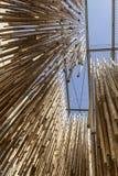 在海岛的吊车装饰成群,商展2015年米兰 免版税库存照片
