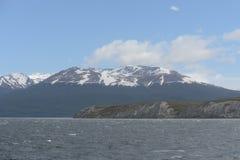 在海岛附近的旅游船有在小猎犬渠道的海狮的 库存照片