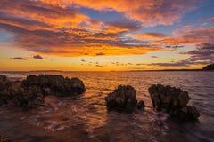 在海岛马里Losinj,克罗地亚上的日落 免版税库存照片