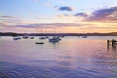 在海岛,北岛,新西兰海湾的日出  库存照片