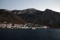 在海岛,希腊的日落 免版税图库摄影