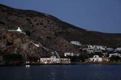 在海岛,希腊的日落 免版税库存照片