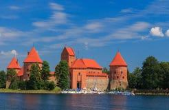 在海岛,特拉凯,立陶宛镇上的老城堡  免版税库存图片
