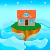 在海岛3上的房子 库存图片