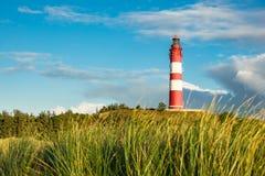 在海岛Amrum上的灯塔 库存图片