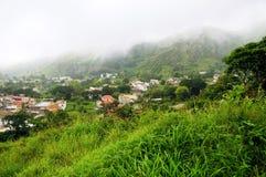 在海岛Brava的资本的雾 免版税库存图片