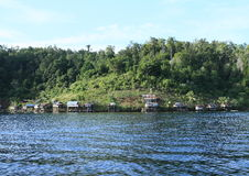 在海岛Gam上的Fisher村庄 库存照片