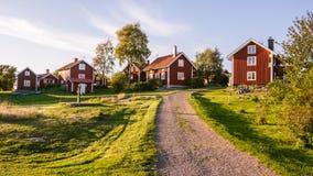 在海岛Harstena的村庄中心在瑞典 库存图片