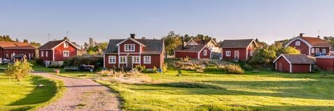 在海岛Harstena的村庄centr在瑞典 库存图片