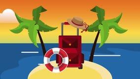 在海岛HD定义的旅行行李 库存例证