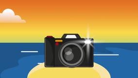 在海岛HD定义的照相机 向量例证