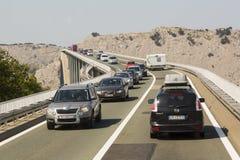 在海岛Krk,克罗地亚的桥梁 免版税库存图片