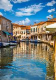 在海岛Murano的运河在威尼斯意大利 库存图片