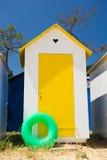 在海岛Oleron的海滩小屋在法国 库存图片