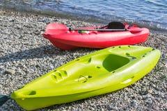 在海岸参考图片的两条小船 免版税图库摄影