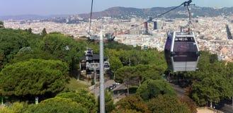 在海岸和Montjuic小山,巴塞罗那鸟瞰图之间的缆车 库存图片