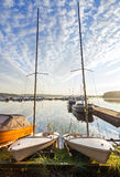 在海岸的二条小的风船 免版税库存图片