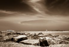 在海岸的低潮 库存照片