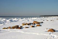 在海岸的冬天横向 库存图片