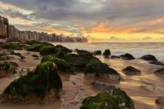 在海岸的日落与在天际线的都市风景 免版税图库摄影