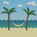 在海岸的棕榈树 免版税库存照片
