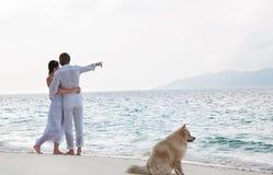 在海岸的浪漫新夫妇 免版税库存照片
