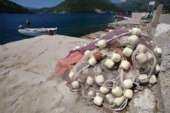 在海岸的渔网在Boko科托尔海湾 图库摄影