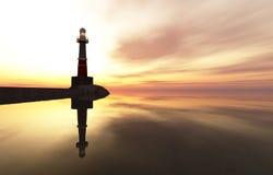 在海岸的灯塔 免版税图库摄影