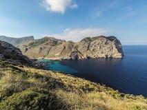 在海岸的美好的风景在盖帽Formentor附近 图库摄影