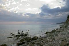 在海岸的重的天空 免版税库存照片