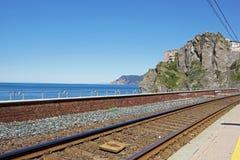 在海岸的铁路 库存图片