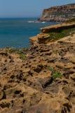 在海岸线岩石的看法在海洋 免版税库存图片