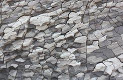 在海岸背景图片的破裂的干燥灰色黏土 免版税库存照片
