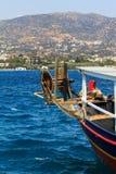在海岸附近的渔船 库存图片