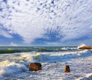 在海岸Jaffo,以色列的一朵海浪 免版税库存图片